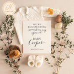 Spring Pregnancy Announcement for Social Media, Spring Baby Announcement for Social Media, Editable Template, We're Eggspecting