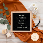 Editable Social Media Pregnancy Announcement, Digital Pregnancy Announcement, Gender Neutral Personalized Letter Board Announcement