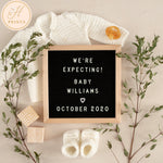 Social Media Pregnancy Announcement, Digital Pregnancy Announcement, Editable Pregnancy Announcement Template, Gender Neutral Letter Board