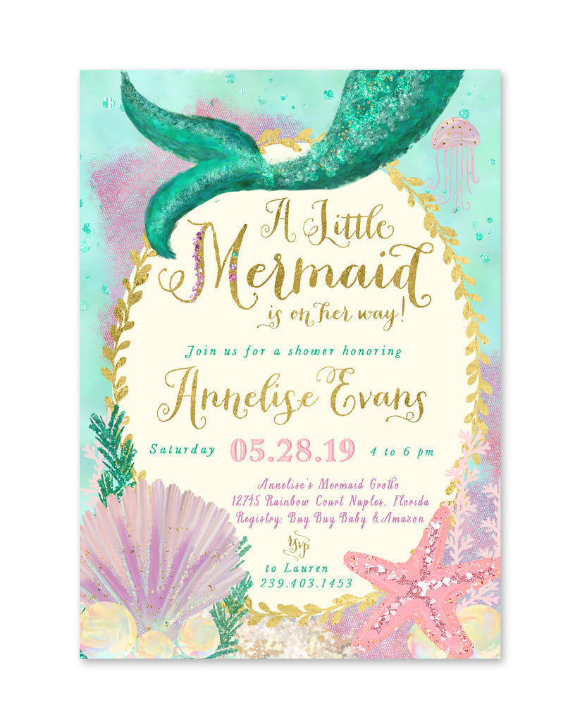 Annelise: Mermaid Baby Shower Invitation