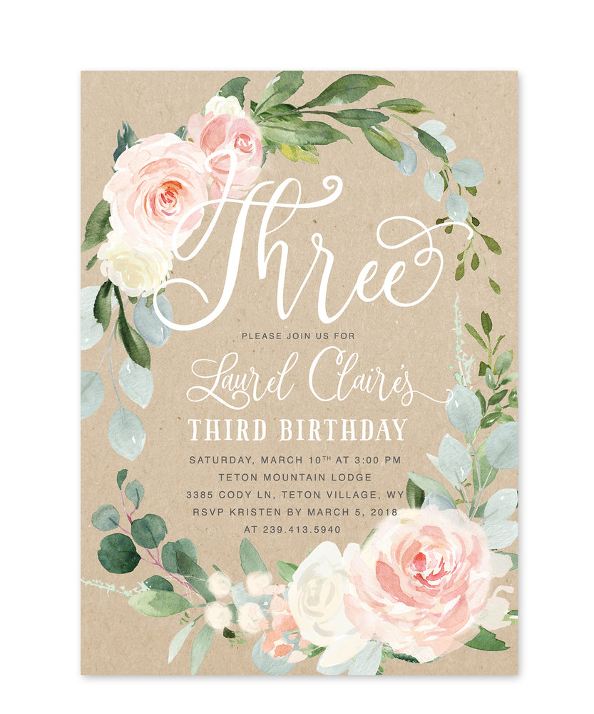 Laurel: Floral Wreath Third Birthday Invitation {Kraft & Pink}