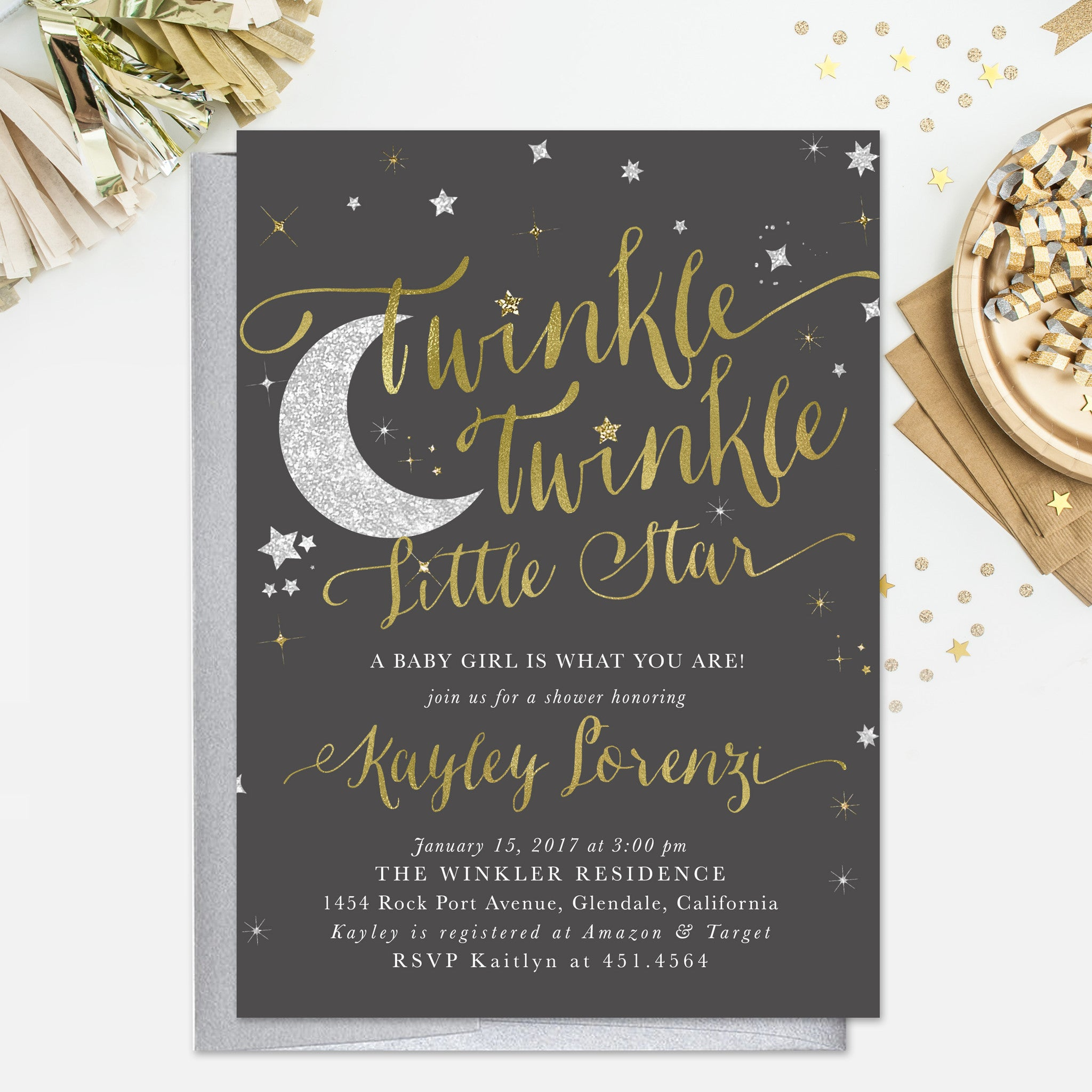 Twinkle twinkle little star boy or girl baby shower invitation dark twinkle twinkle little star boy or girl baby shower invitation dark grey filmwisefo