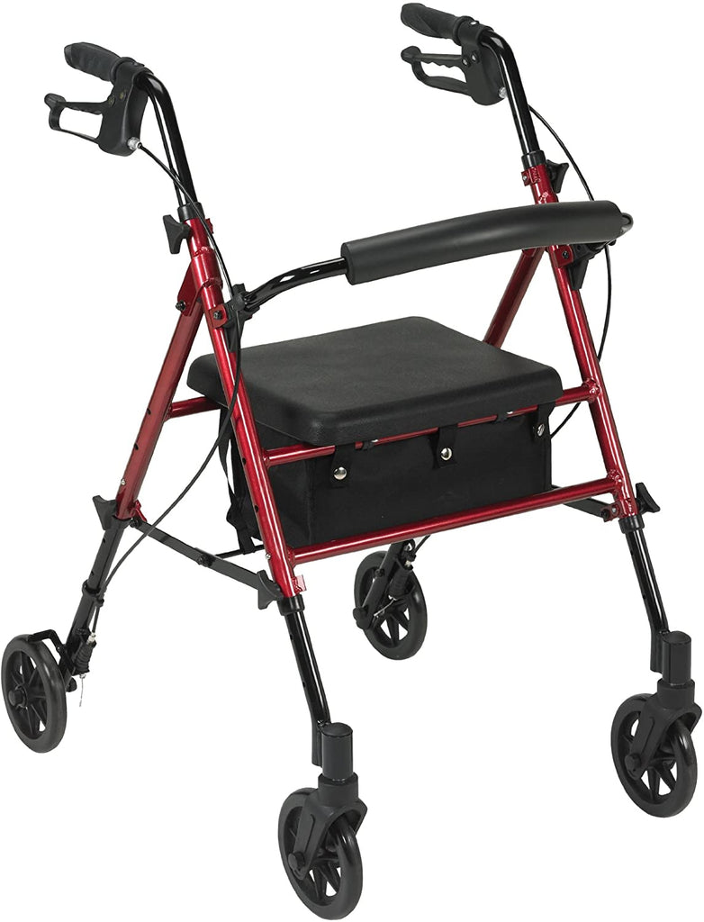 McKesson Drive 4 Wheel Rollator 34 to 39 Inch Red Folding Steel 34 to 39 Inch