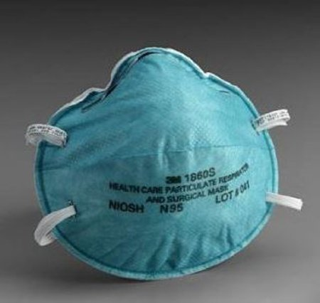 3M 1860S N95 Health Care Particulate Cup Respirator and Surgical Mask, Small, ASTM F1862, Blue (6 boxes of 20)