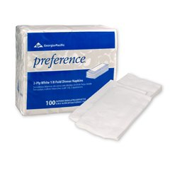 GP PRO - 1/8 Fold Dinner Napkins, 15 x 16, White, 100/Pack 31436