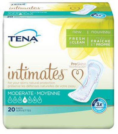 Tena Intimates Moderate, Incontinence Pads for Women, 20 Pads (Pack of 2)