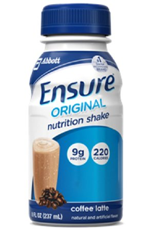 Ensure Original Nutrition Shake, Coffee Latte, 8-Ounce Bottle, CS/24