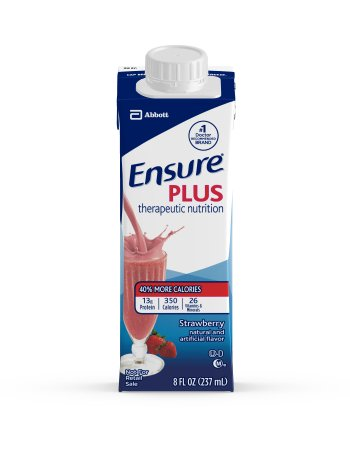 ENSURE PLUS 8OZ STRAWBERRY CARTONS, Case of 24