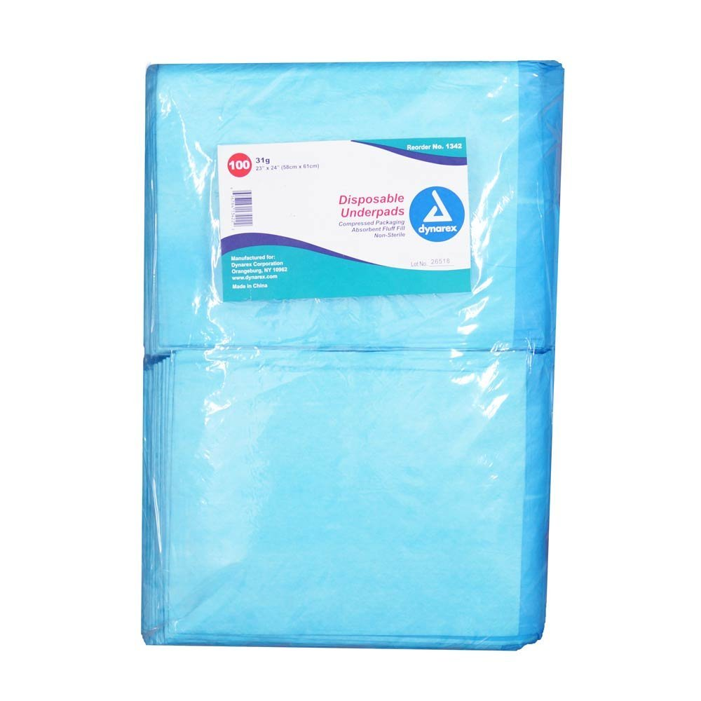Disposable Blue Underpad Chux, 23*24, Pack of 100 by Dynarex