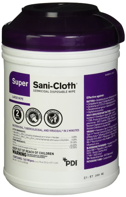 Professional Disposables Surface Super Sani-Cloth Wipes, 160 CT (2 PK)