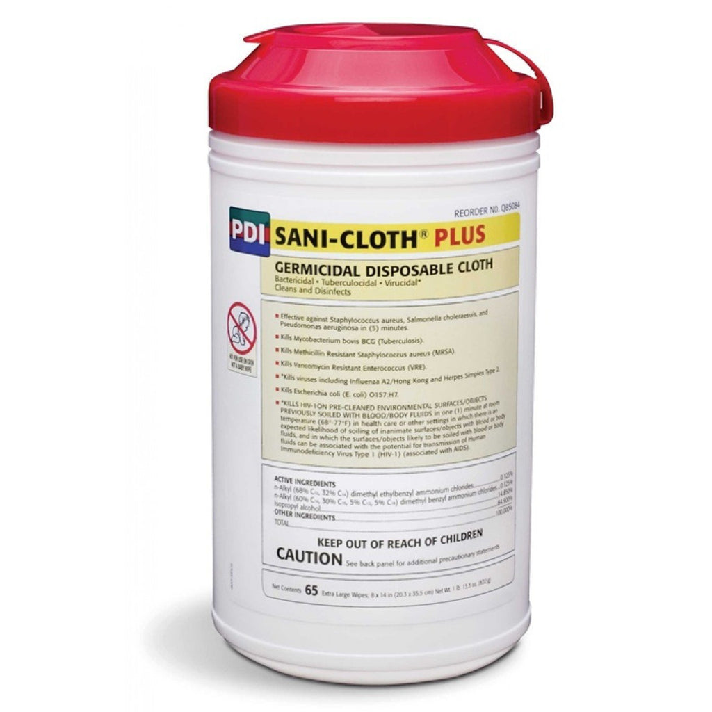 "Sani-cloth Plus Germicidal Disposable Cloth 8""X14"" - Model Q85084 - Can of 65"