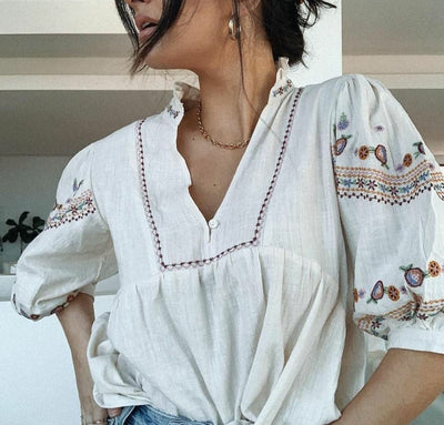 Embroidered Top - Beige