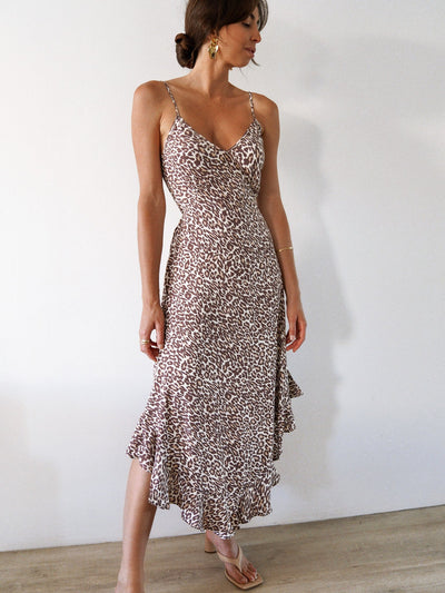 Alena Leopard Slip Dress - Choc/Sand