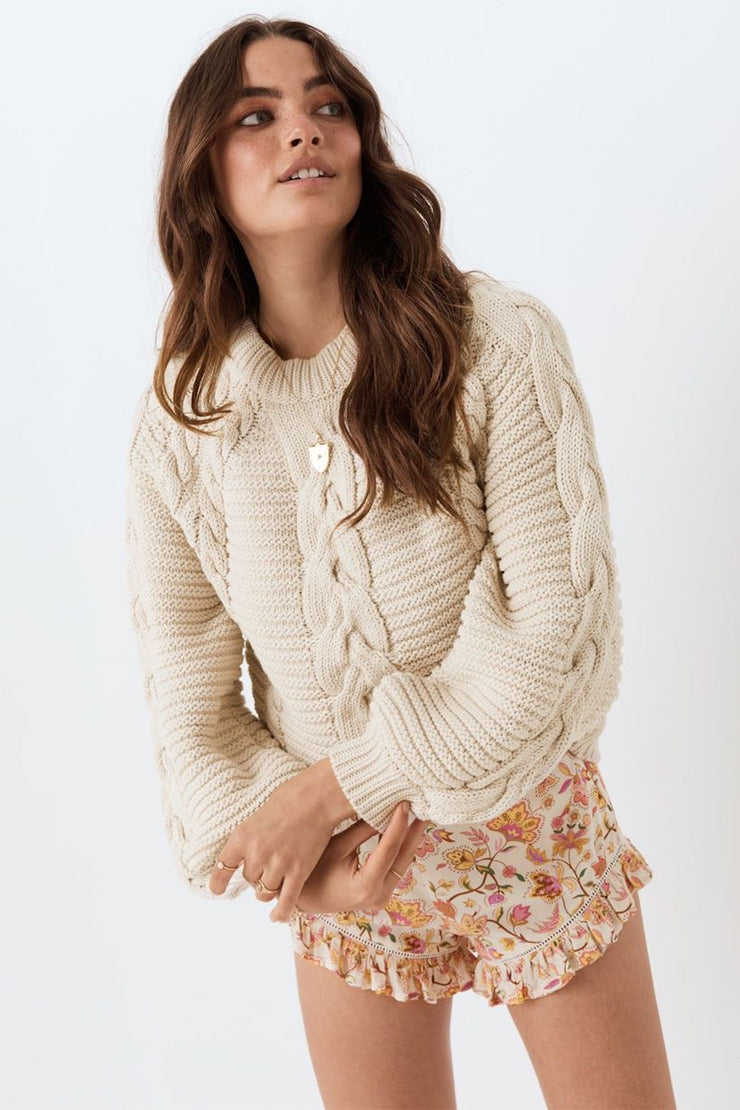 The Brunch Cable Knit Jumper - Sand - Tierra Alma