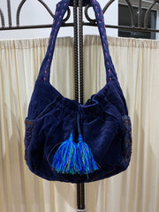 Velvet Embroidery Bag - Navy Blue - Tierra Alma