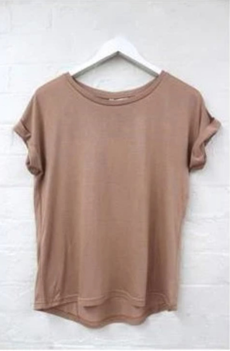 Roll Sleeve Tee - Tan