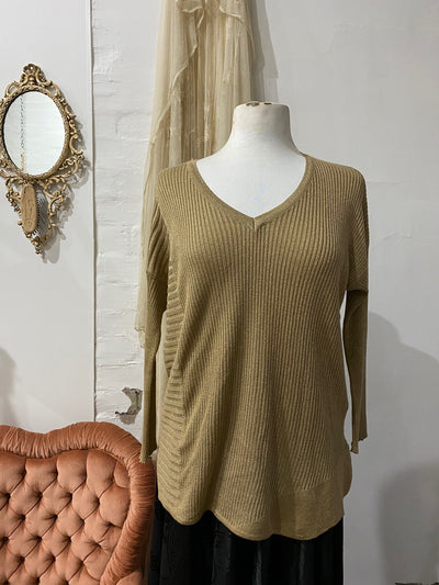 Lurex Long Sleeve Top - Gold - Tierra Alma