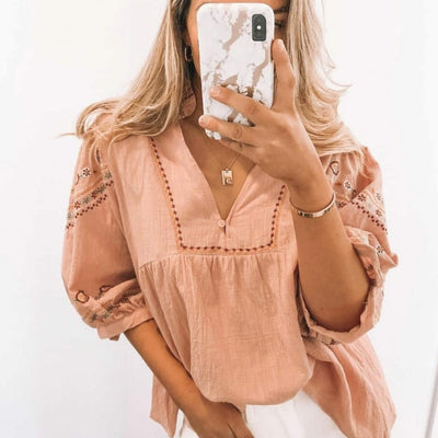 Embroidered Top - Pink