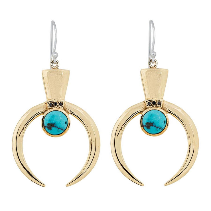 Lunar Dangle Earrings Gold Turquoise - Tierra Alma