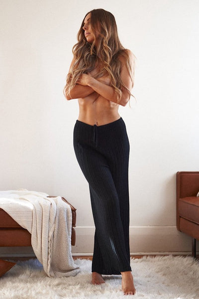 Baha Ribbed Wide Leg Pants Black PRE ORDER - Tierra Alma