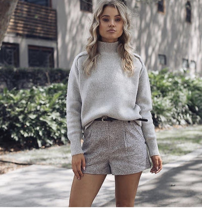 High Neck Grey Sweater - Tierra Alma