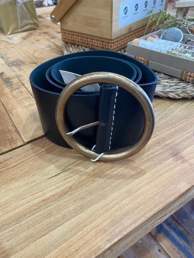 Medina Peasant Leather Belt - Black
