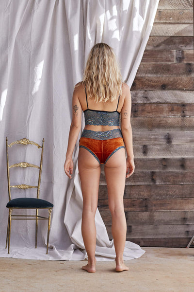 Briefs - Rust Velvet and Teal Lace - Tierra Alma