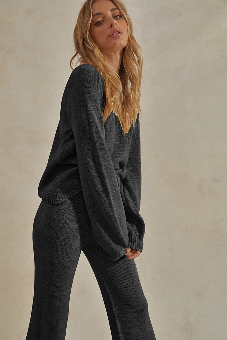 Celeste Long Sleeve Top & Pant Set - Black