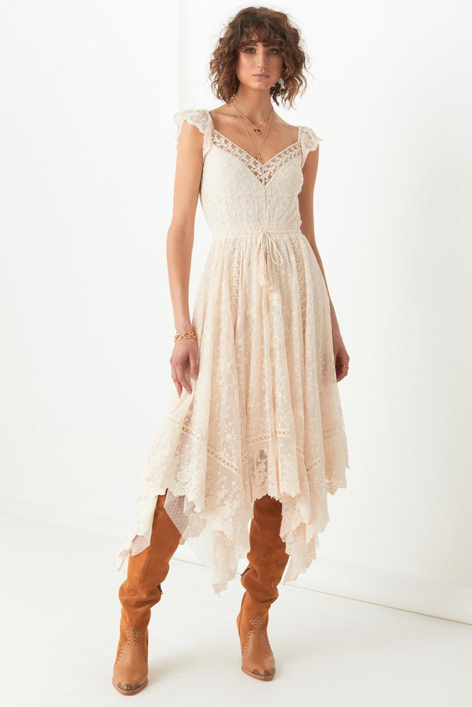 Le Gauze Lace Kerchief Dress - Off White