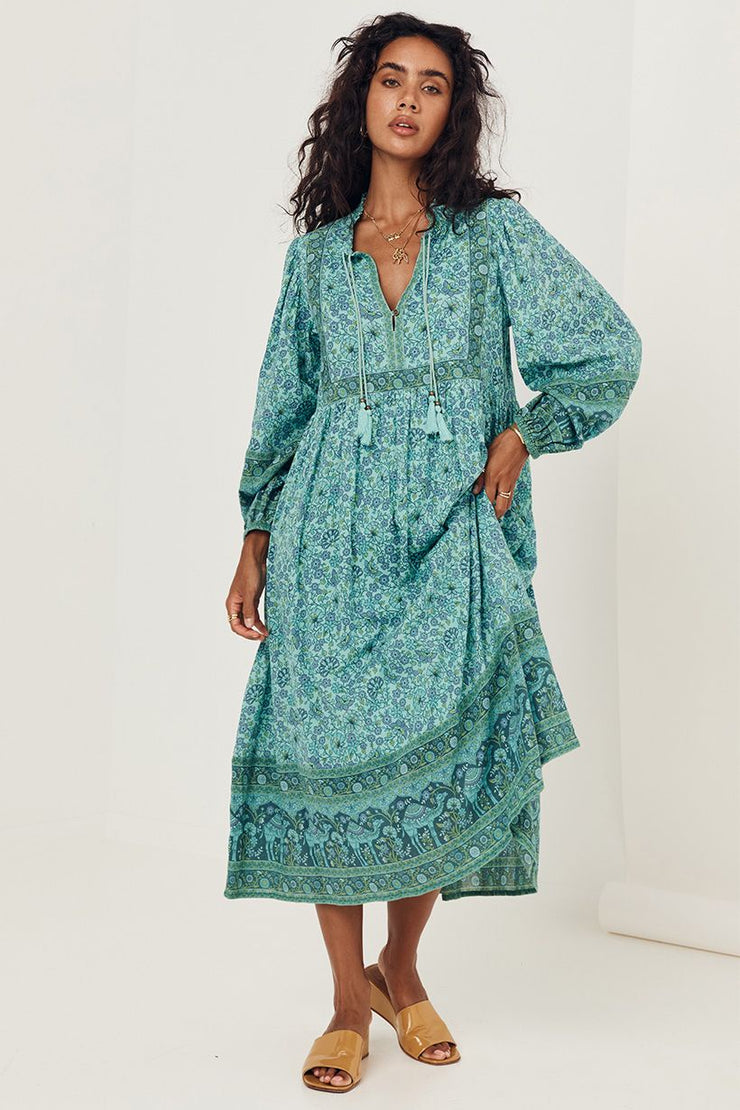 Sundown Boho Dress - Turquoise