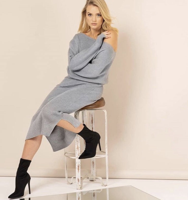 Long Grey Knitted Dress - Tierra Alma