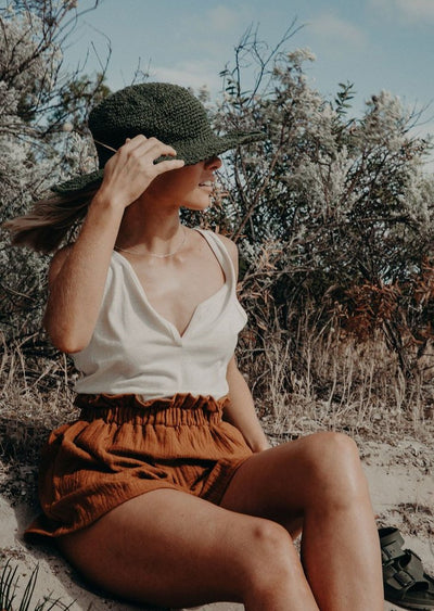 Polly Short Brim Hemp Hat - Olive