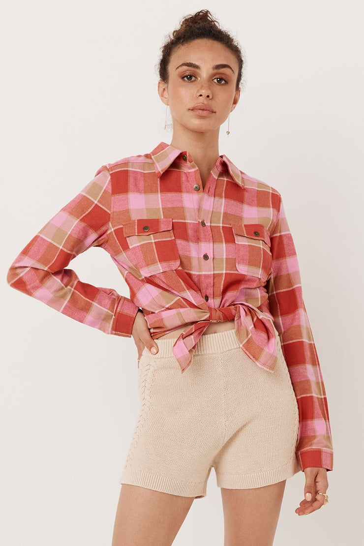 Montague Flannel Shirt - Red Coral