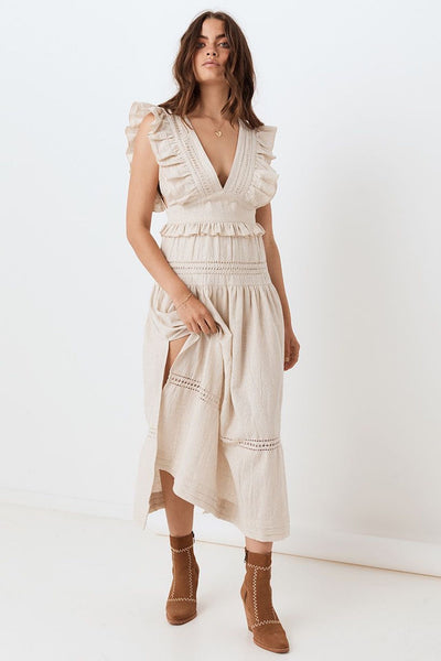 Lola Frill Maxi Dress - Biscuit - Tierra Alma