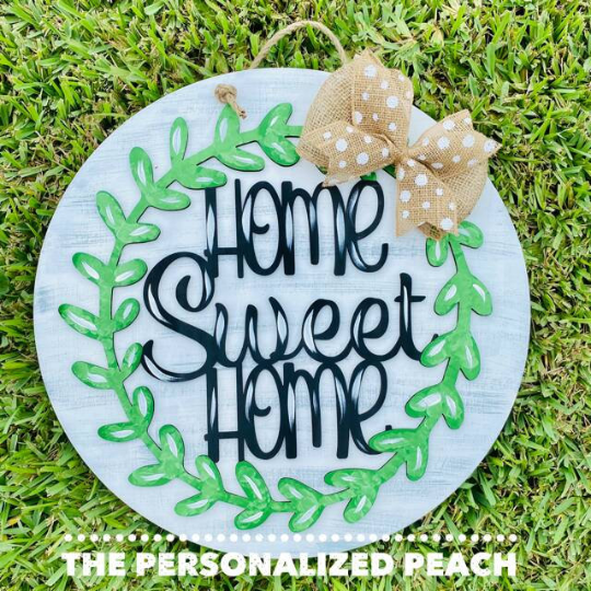 Home Sweet Home/Green Vine/Burlap Accent/Laser Cut