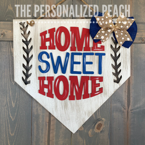 Home sweet home plate baseball door hanger