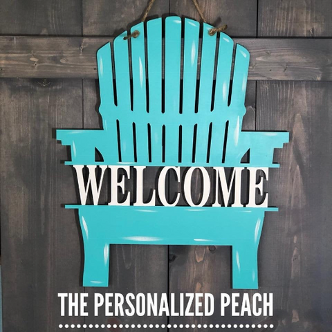 Welcome Adirondack Chair Beach Chair Door Hanger Door Decor