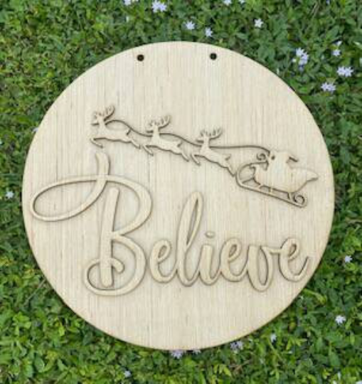 Christmas Believe with Reindeer/ Front Door Hanger / DIY Blank for Paint Parties / Laser Cut