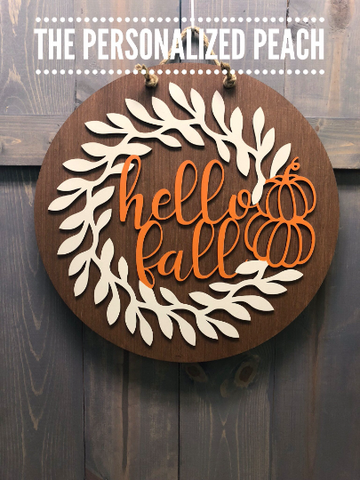 Round Hello Fall Door Hanger/ With Pumpkin and Vine Accent