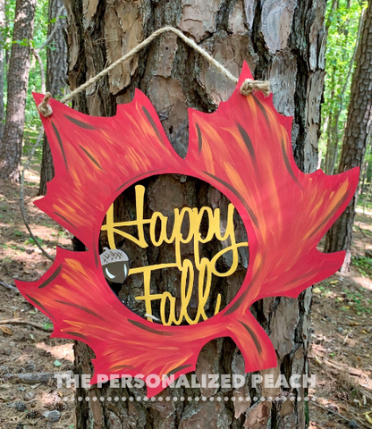 Happy Fall Leaf Door Hanger