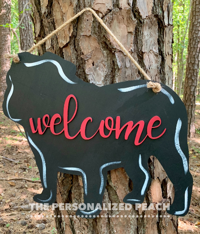 Bulldog Welcome Door Hanger