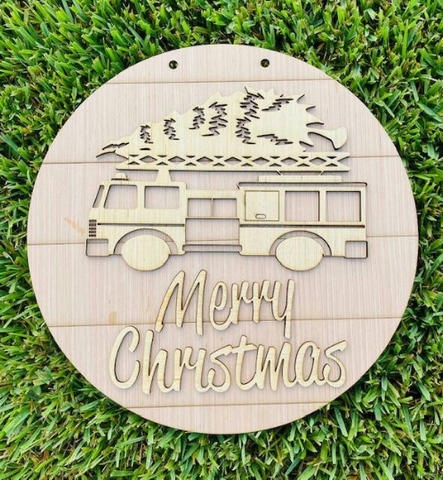 DIY/ Merry Christmas Fire Engine door hanger/Laser Cut/ Blank for Paint Parties
