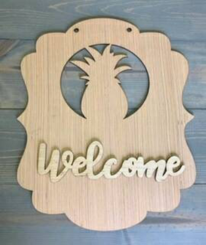 DIY/Pineapple Welcome / Front Door Hanger / Laser Cut