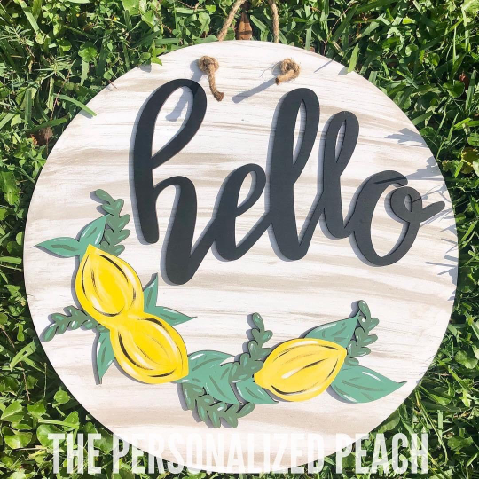 Round Hello with Lemons Wall Decor/Door Hanger