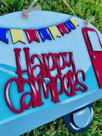 Happy Campers with banner /Front Door Hanger / Laser Cut