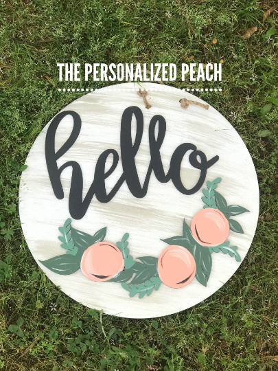Round Hello with Peaches Wall Decor/Door Hanger