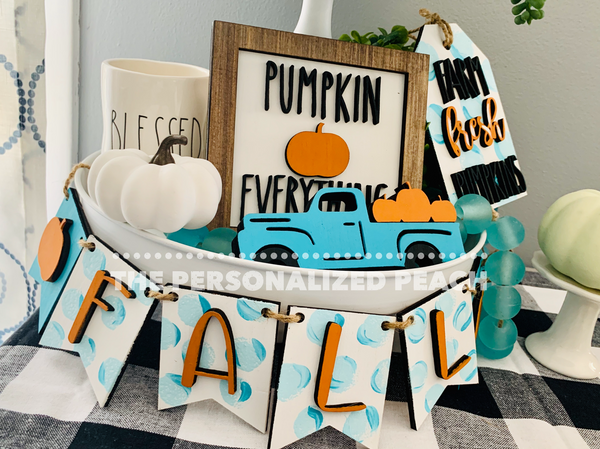 Pumpkin Patch Tiered Tray Set-Painted