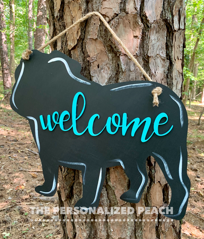 Welcome Bulldog Door Hanger-Red