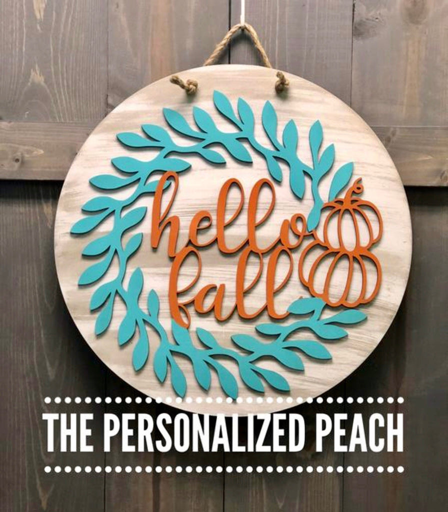 Round Hello Fall Door Hanger