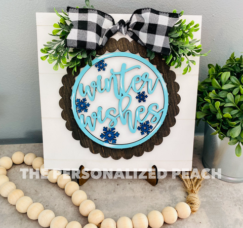 Winter Wishes Shiplap Sign Unpainted Kit